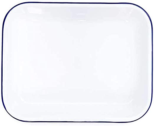 Vtg round enamal ware round baking roasting pan with dimpled lid in the cowboy blue fleck finish