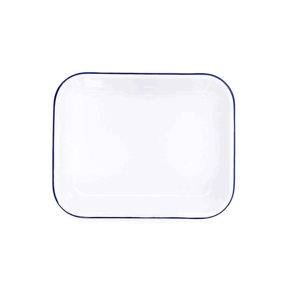 Enamelware Open Roaster, 13 x 10 inches, Vintage White/Blue by Crow Canyon Home