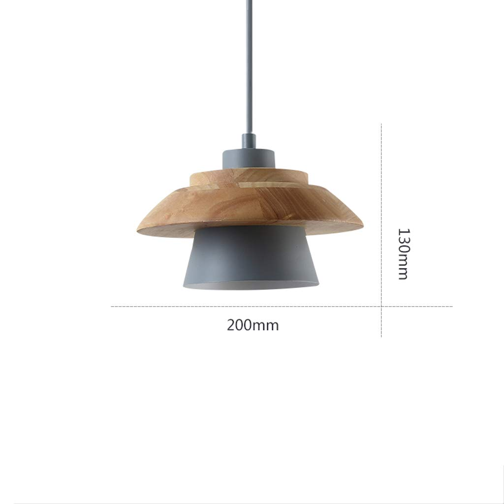 Nordic Postmodern Minimalist Style Creative Single Head Chandelier, Wooden Chandelier Living Room Bedroom Bedside Restaurant Bar Lamp (Color : Gray)