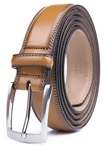 (Milorde's Men Genuine Leather Belt with Single Prong Buckle, Fashion & Classic Design for Dress and Causal (Size 50 (Waist 48), Basic Tan))