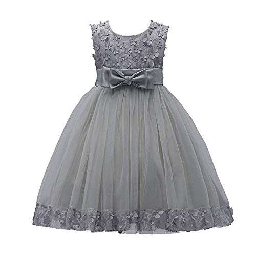Weileenice 1-14 Years Big/Little Girl Flower Lace A-line Party Dresses (11-13Y, Gray)