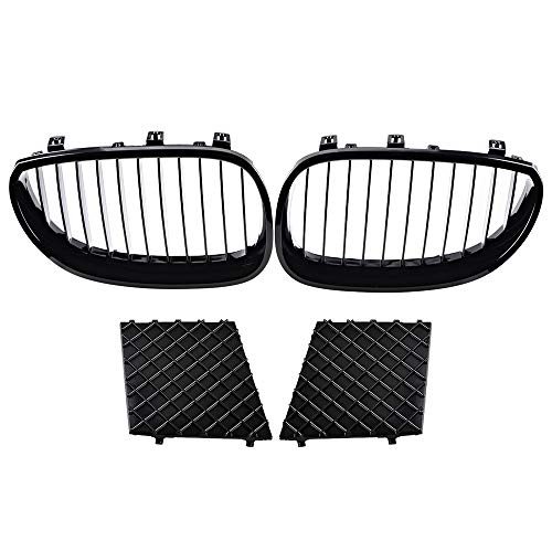 Astra Depot Pair Front Kidney Grille Left and Right Lower Bumper Grill Covers Kit Compatible with 2003-2010 E60 E61 M Sport