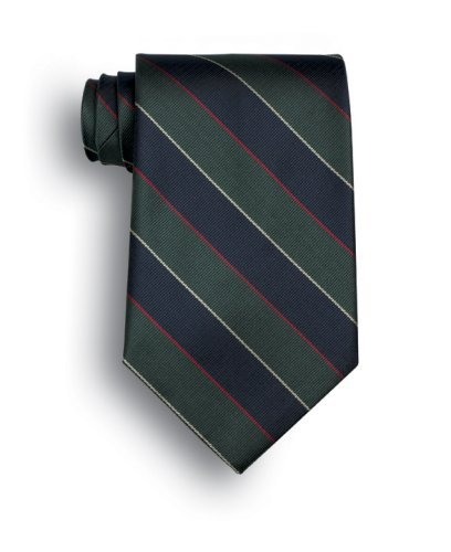 Signature Stripes Polyester Tie - Argyle and Sutherland - Navy, Green, Red, White - Argyle Mens Tie