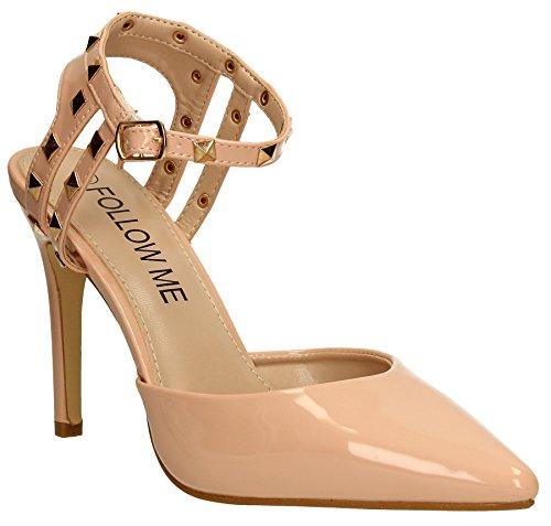 Macy Womens Stilettos Patent High Heel Stud Pump Sandal Ladies Shoes Rose Gold Black SWANKYSWANS Pink ZhlsKN9P