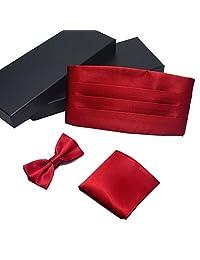 Formal Solid Pre-tied Bow Tie & Pocket Square & Cummerbund Set