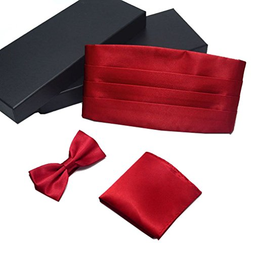 AWAYTR Formal Solid Pre-tied Bow Tie & Pocket Square & Cummerbund Set (Fresh Wine red) ()