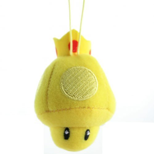 Mario Kart Fuwa Fuwa Plush Cleaning Cloth Mascot Keychain Gold Mushroom - Fuwa Plush