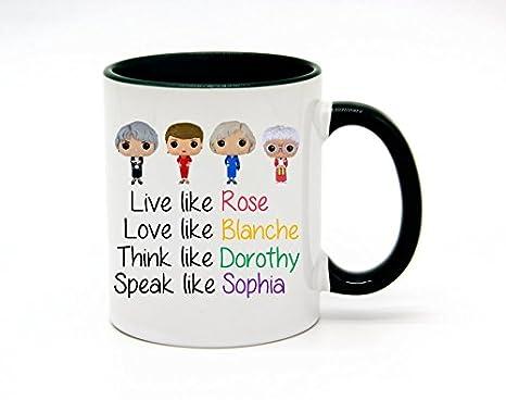 Love Like Blanch Coffee Mug or Tea Cup White+Blue WECE 11 Ounce Live Like Rose