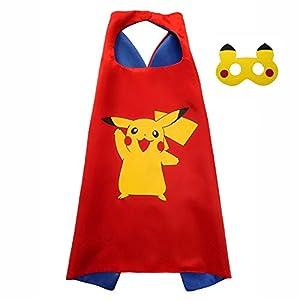 FASHION ALICE Kids Pokemon Pikachu Poke Ball CAPE & MASK SET,Halloween Costume Cloak for Child (Pikachu Red)