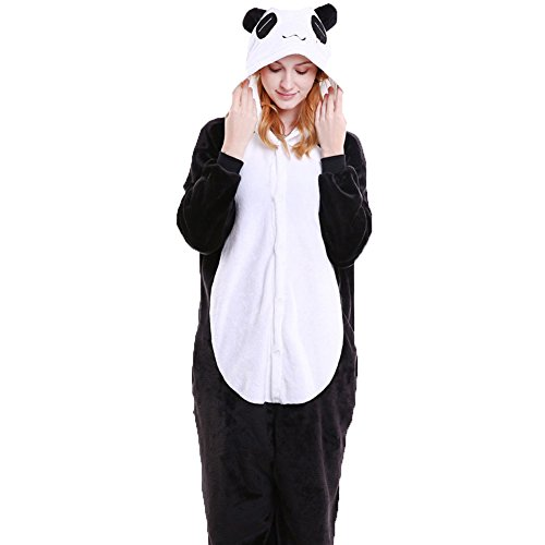 FloYoung Adult Onesie Panda Pajamas Cosplay Animal Halloween Costume Sleepsuit S ()