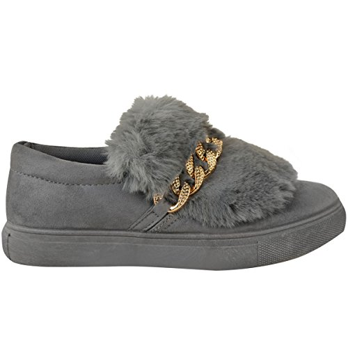 Ladies Womens Diamante Chain Skater Trainer Slip On Plimsoll Flat Boots Shoes Grey Faux Suede / Faux Fur FP39AEPHhS