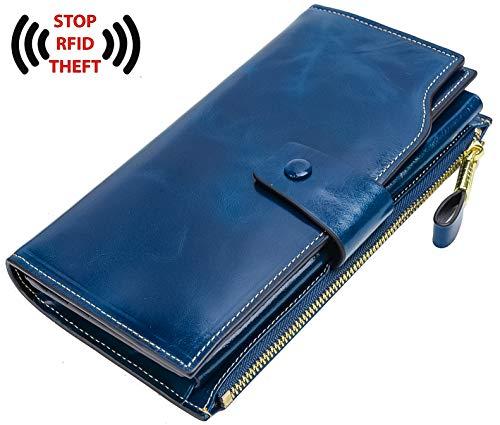 YALUXE Women's Leather Blocking Capacity Luxury Clutch Wallet Card Holder Ladies brown