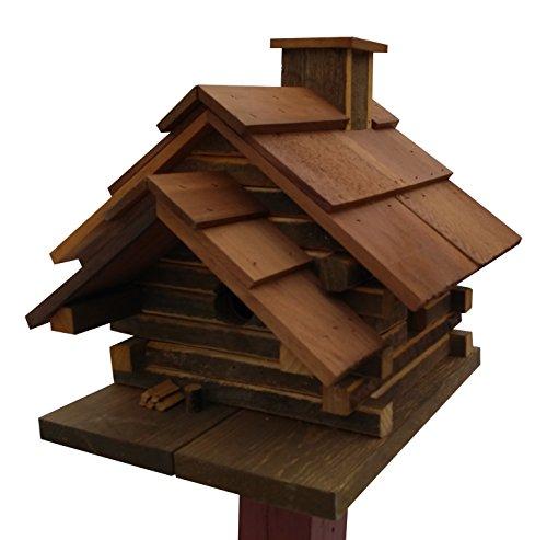 Log Birdhouse - Home Bazaar Conestoga Log Cabin Birdhouse. Medium, Natural Cedar