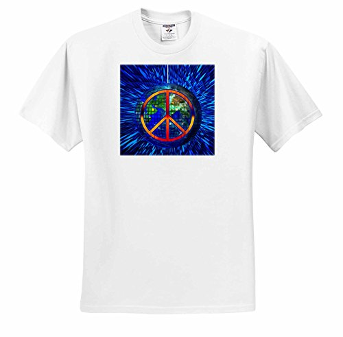 Doreen Erhardt Retro - Retro Hippie Themed Peace on Earth with Disco Ball and Tie Dye - T-Shirts - Adult T-Shirt Small (Disco Themed Clothes)