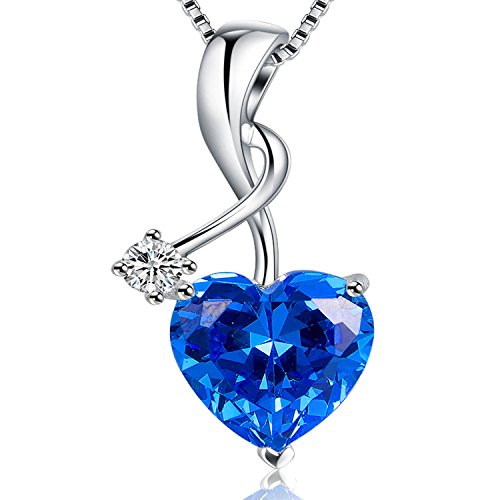 Mabella Sterling Silver Jewelry 4.0 CTW Simulated Diamond Blue Sapphire Gemstone Pendant Heart Necklace, 18