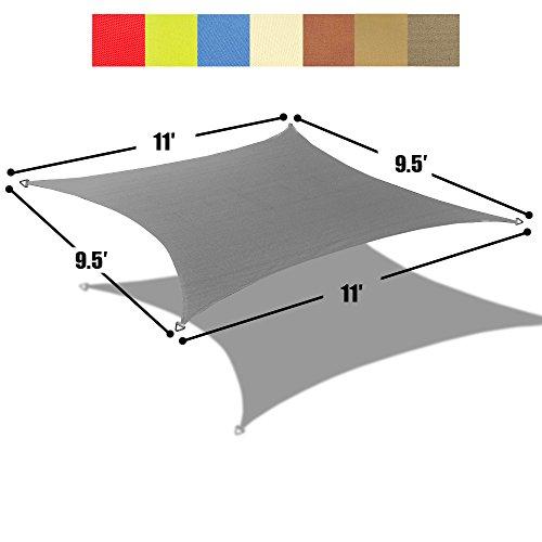 Patio Cover Rain (Alion Home 9.5' x 11' Rectangle PU Waterproof Woven Sun Shade Sail (1, Grey))