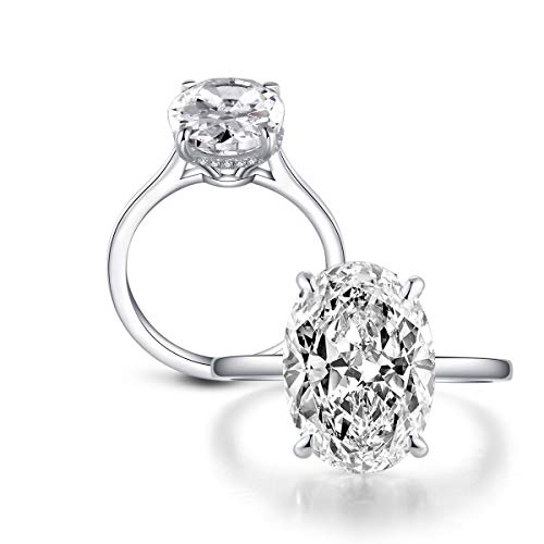 - Erllo 10x14mm Oval Cut 5 Carat Cubic Zirconia CZ Halo Solitaire Engagement Wedding Rings for Women 925 Sterling Silver (White Gold Color, 7)