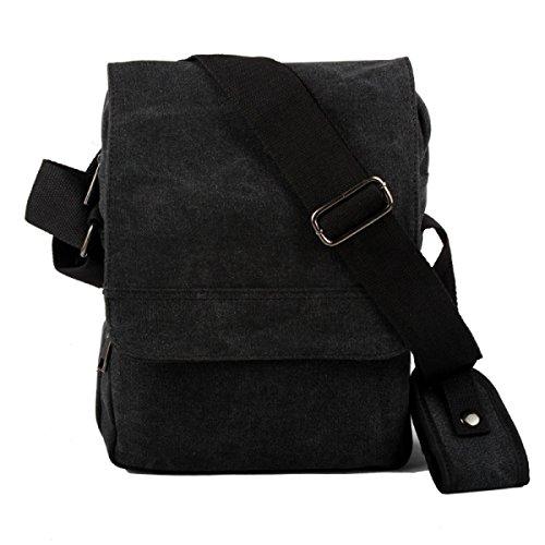 Männer Und Frauen Vintage-Leinwand Messenger Ipad Schulter Tote Arbeiten Geschäft Tasche,Black-OneSize