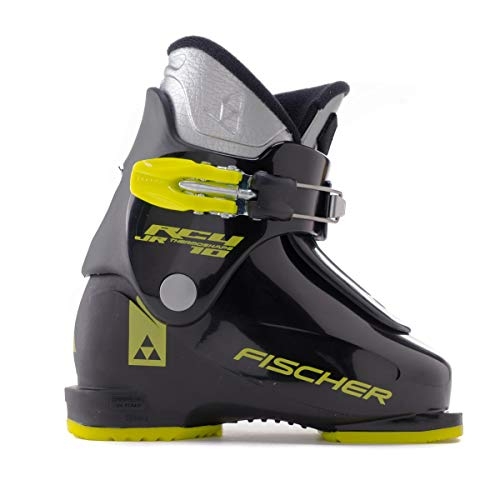 (Fischer RC4 10 Junior Thermoshape Ski Boots Black/Black 18.5)
