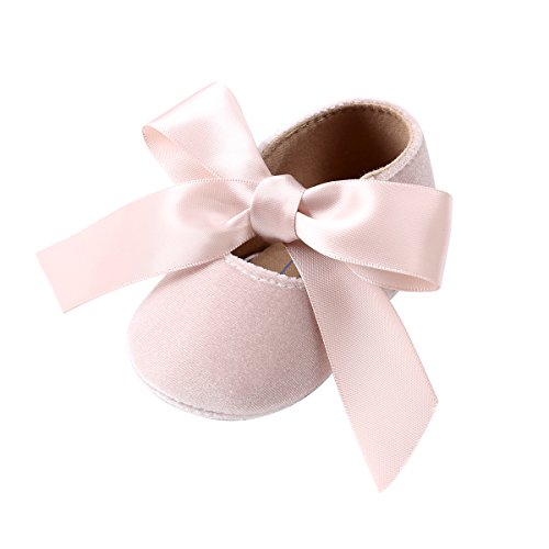 (Kuner Baby Girls Lace Bow Mary Jane Princess Shoes No-Slip First Walkers Shoes (13cm(12-18months), Beige))