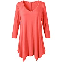 jollielovin Womens Plus Size 3/4 Sleeve V-Neck Flare Hem Loose-Fit Túnica parte superior