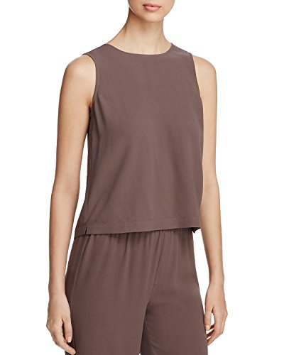 Eileen Fisher Women's Silk Georgette Crepe Round Neck Shell Top, CBLST (Brown), Medium