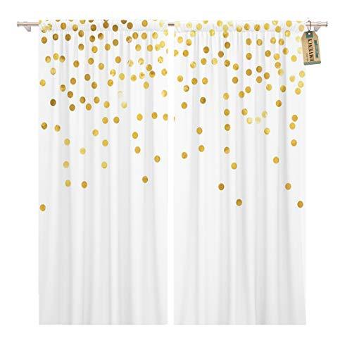 Golee Window Curtain Yellow Confetti Polka Dot Gold Abstract Birthday Bright Circle Home Decor Rod Pocket Drapes 2 Panels Curtain 104 x 63 inches - Dot Polka Rod