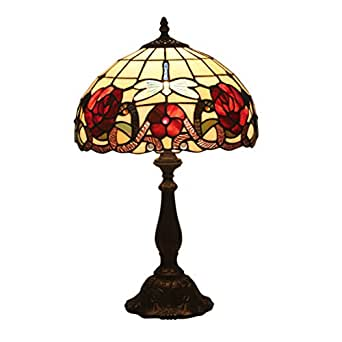 Tiffany Style Dragonfly Baroque Stained Glass Shade Table Lamp 12 Inch Beside Nightstand Desk Lamp Living Room Bedroom Study Decor Lamp
