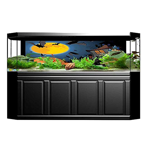 Jiahong Pan Aquarium Collage Scene with Halloween Haunted Party Theme Trick or Treat for Paper Fish Tank Backdrop Static Cling Wallpaper Sticker L29.5 x H17.7 ()
