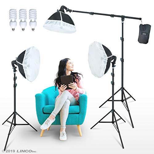 LINCO Lincostore Photography Studio Lighting Kit Arm for Video Continuous Lighting Shadow Boom Box Lights Set Headlight Softbox Setup with Daylight Bulbs AM262