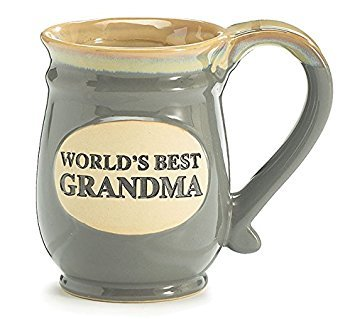 Coffee Cup Worlds Best Grandma Hot Tea Mug Gray Porcelain 14 oz with Tan, Vintage Pottery Look Gift Idea for Beverage Service or China Collections (1 Grandma Mug)