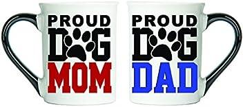 Tumbleweed - Proud Dog Mom And Proud Dog Dad - Dog Mug Set - Two Large 18 Ounce Ceramic Coffee Mugs - Dog Lovers