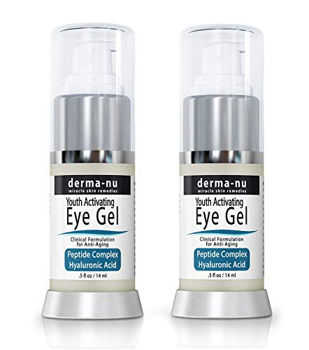 Eye Gel Anti-Aging Cream - Treatment for dark Circles, Puffiness, Wrinkles and Fine Lines - Hyaluronic Acid Formula Infused Serum with Aloe Vera & Jojoba for Ageless Smooth Skin