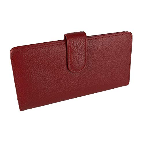 Buxton Leather Tab Checkbook Cover & Credit Card Holder Bill Wallet & Zippered Coin Pouch,Red,One Size