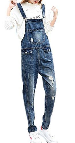 f1810193e290c Women s Plus Size Loose Dungarees Stretch Denim Jumpsuits Destroyed Holes  Romper Overalls 3XL Light Blue