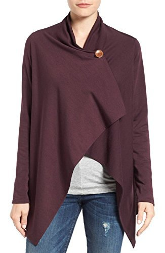 Bobeau Women's One Button Wrap Cardigan Comfy, Cute & Stretchable Sweater (Port, Medium) (Three Button Wrap)