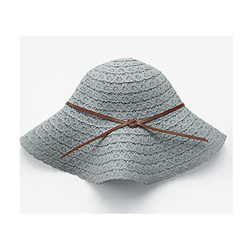 Outdoor Knitted Sun Hats Solid Casual Big Brim Lace Bow Beach Hat Sun Protection Caps,Gray,57-58cm -