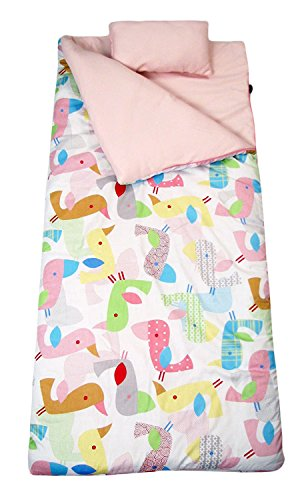 SoHo kids Sweet Flamingo Love children sleeping slumber bag with pillow and carrying case lightweight foldable for sleep ()