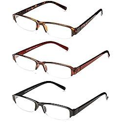 OPTX 20/20 Unisex-Adult Optx 20/20 Hitech+125 (3 Pack) 3PK+125HIT Oval Reading Glasses, Black/Brown/Tortoise Shell, 1.25