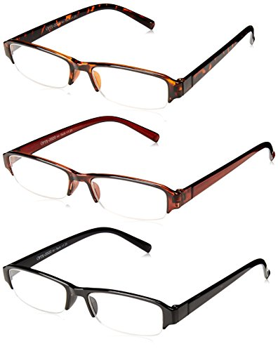 OPTX 20/20 Unisex-Adult Optx 20/20 Hitech+175 (3 Pack) 3PK+175HIT Oval Reading Glasses, Black/Brown/Tortoise Shell, - Brown Shell Tortoise Glasses