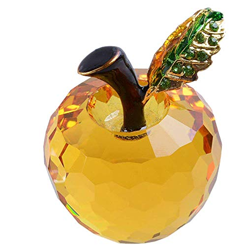 - LONGWIN 40mm (1.6 inch) Crystal Apple Figurine Paperweight Amber
