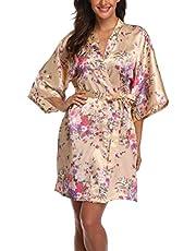 M.Mystery Women's Floral Robe Short Silk Bridal Bathrobe Satin Kimono Wedding Sleepwear