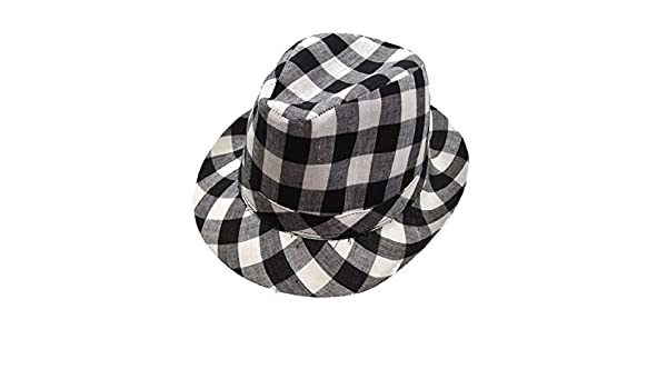 0d67376c1d5992 Amazon.com: Checkered Fedora Adult Hat Costume Accessory: Clothing