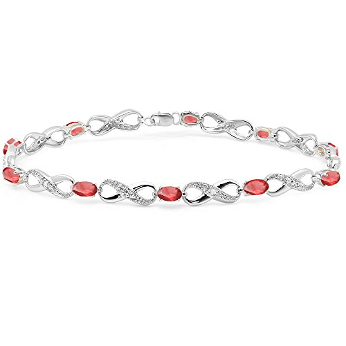 Dazzlingrock Collection Real Oval Cut Ruby & Round Cut White Diamond Ladies Infinity Link Tennis Bracelet, Sterling Silver