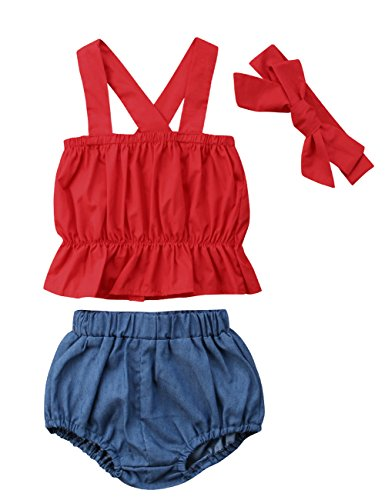 Baby Girls Cross Back Ruffle Top and Denim Bubble Shorts Outfit Set with Headband (6-9M, Red) by Canis
