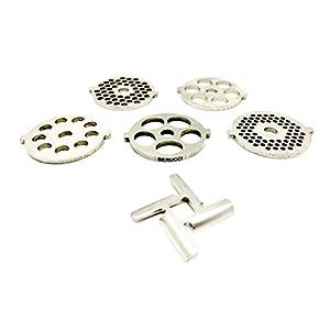 Berucci 6 Piece Stainless Steel Meat Grinder Plate Discs Blades for Kitchenaid Mixer FGA Chopper Attachment