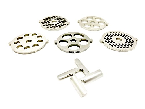Berucci 6 Piece Stainless Steel Meat Grinder Plate Discs Blades for Kitchenaid Mixer FGA Chopper Attachment 12 Meat Chopper