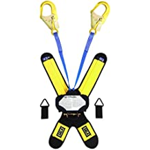 "3M DBI-SALA Talon, 3102000 Self Retracting Lifeline, 6' Twin-Leg, 1"" Nylon Web, Quick Connector For Harness Mount, Alum Rebar Hooks, Navy/Yellow"