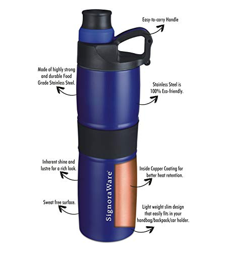 Signoraware Starlene Stainless Steel Vacuum Flask Bottle, 600ml, Blue