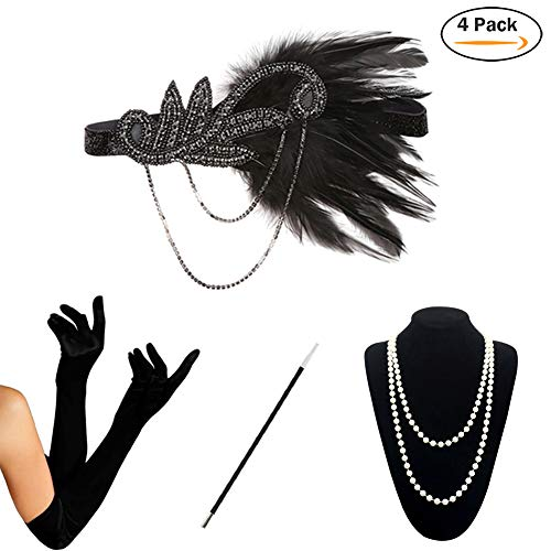 HAMIST 1920s Accessories Set Flapper Costume for Women Headband Gloves Cigarette Holder Necklace (S4-5832) by HAMIST